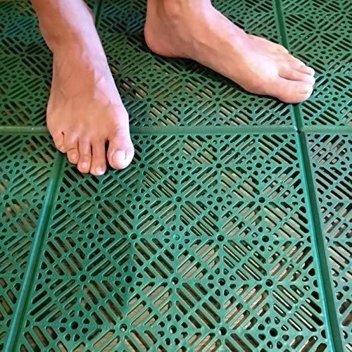 ML Pavimento galleggiante in plastica per giardino esterno sport basket piscina 30 x 30 cm 12 pezzi, pavimento plastica griglia (piastrelle verde)
