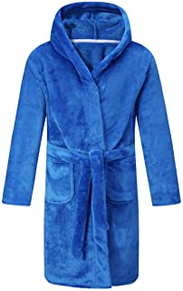 Kids Robe Soft Fleece Hooded Bathrobe Sleepwear for Girls Boys