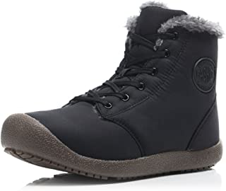 Men Snow Boots Women Fur Lined Ankle Sneakers High Top Winter Shoes Lace Up(Black,42)