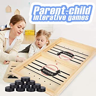 Fast Sling Puck Game 2 in 1 Ice Ball Air Hockey Game, Wood Competitive Table and Ball Catapult, Bumper Chess Child Interac...