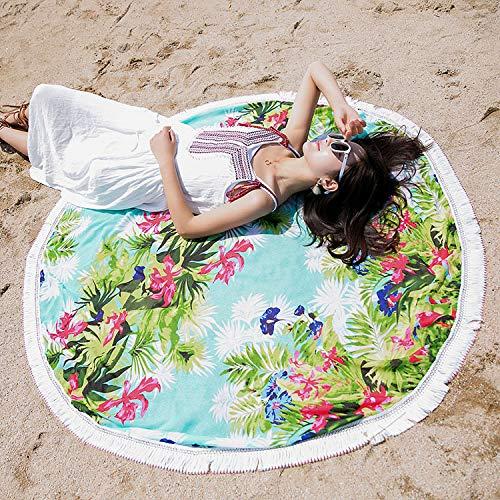 Vcnhln Día de la Madre Cojín de Playa Redondo con Flecos Chal de Abrigo ampliado Estera de Vacaciones Junto al mar Manta de Playa Tapiz150x150cm
