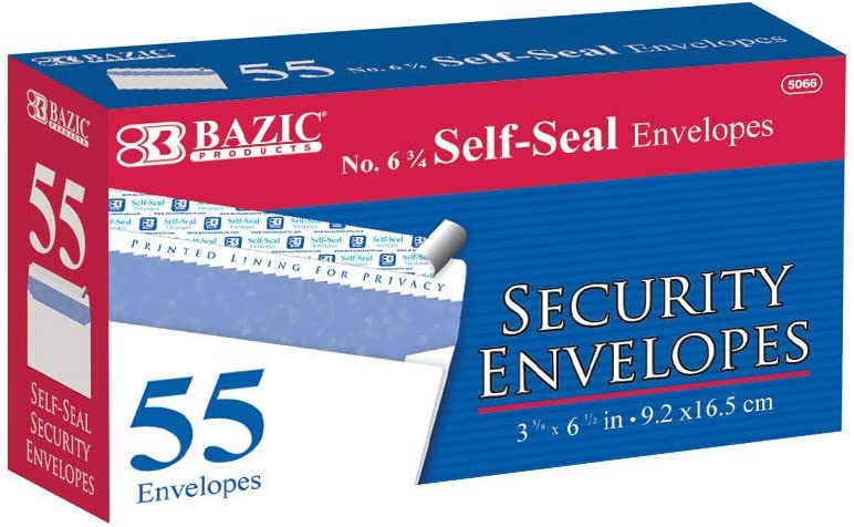 BAZIC #6 3 4 Self-Seal Security Pack San Diego Mall 55 5066-24 Envelope Milwaukee Mall