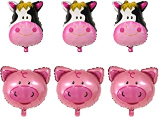 JETEHO 6Pcs Farm Animal Theme Balloons,Can Float Huge Animal Balloons for Children's Birthday Party Supplies Decoration(3X Gaint Cow & 3X Pig Mylar Foil Balloon)