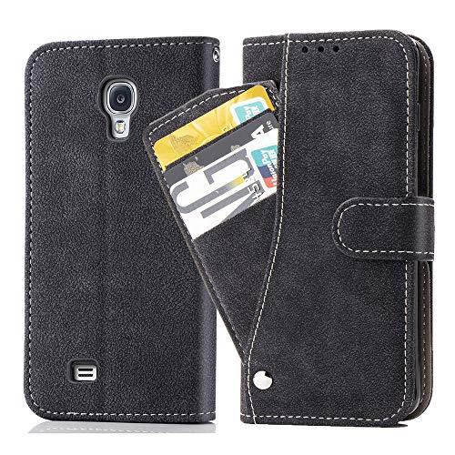 Asuwish - Funda de piel para Galaxy S4, con tarjetero y carcasa de cristal templado y funda para Samsung Galaxy S4, color negro