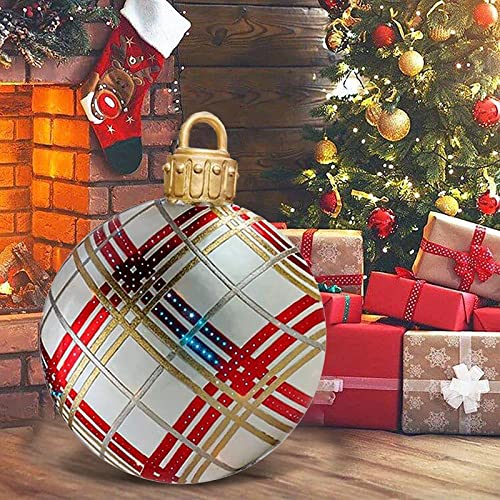 Wassery Outdoor Christmas Inflatable Decorated Ball, 23.6 inch PVC Giant Christmas Inflatable Ball, Xmas Inflatable Balls Christmas Tree Decorations Yard Art Garden Home Patio Decor (#04, OneSize)