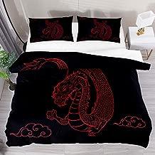 FengYe Duvet Cover Set Black Dragon Clouds Vintage Printed Bedding Comforter Set with 2 Pillow Shams 3 Piece Soft Zipper for Kids Teen Boys Girls - Twin Size