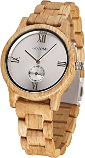 GOGOMY Wooden Watches Mens Casual Watches, Unique Wood Wrist Watch Fashion Gift for Men