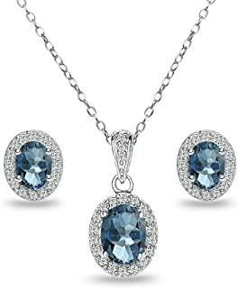 Sterling Silver Genuine, Created or Simulated Gemstones and White Topaz Oval Halo Necklace and Stud Earrings Set
