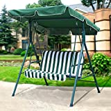 Yaheetech 2 Person Outdoor Patio Yard Swing Canopay with Irom Frame UV Seat Cover 440 Lb Capacity Green