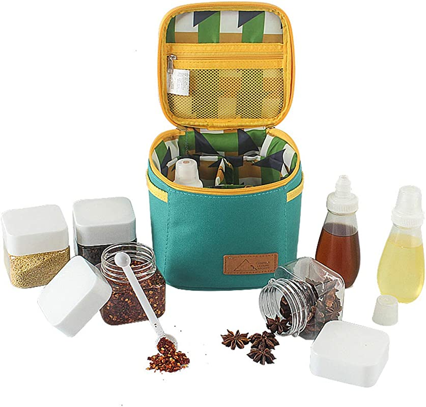 Outdoors Camping Portable Spice Jars Organizer Containers Set With Storage Bag