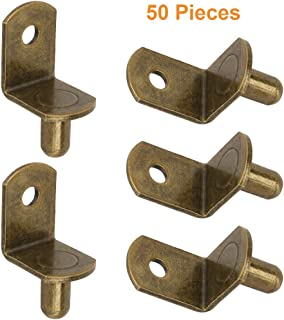 """Brass-Plated Steel L-Shelf Support Pegs 1/4"""" L-Shaped Bracket Style Cabinet Shelf Support Pegs with Hole for Closets, Furniture, Kitchens Support"""