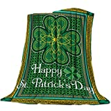 St. Patrick's Day Throw Blanket Super Soft Cozy Bed Fleece Blanket Traditional Shamrock Irish 39×49inch Fuzzy Plush Lightweight Couch Blankets Microfiber Provides Comfort and Warm All Season