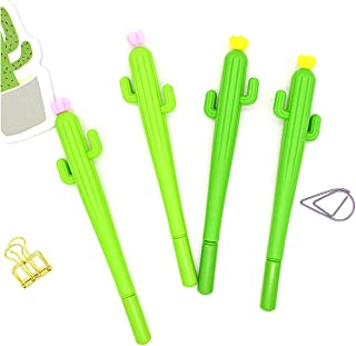 Halloluck 16 Pcs Cactus Shaped Black Ink Gel Pen Refills Ballpoint Pens Student Stationery Prize, 0.5mm