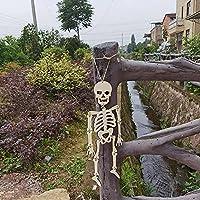 1/2pcs Halloween DIY Wooden Decoration-Wooden Pieces Crafts Cutout Shape,Halloween Skull Pendant Decoration-Wood Human Skeleton Hanging Ornament,DIY Wood Craft for Halloween or Prank Themes (2pcs)