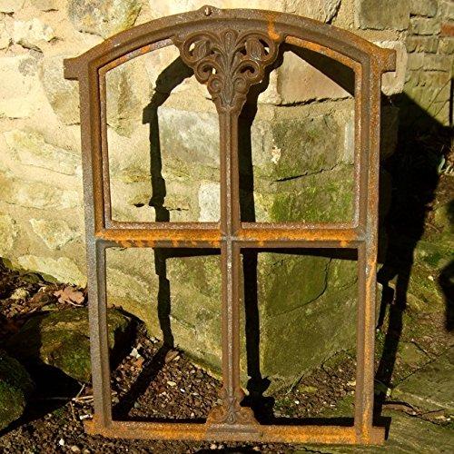 Stallfenster aus Gusseisen in Antik Optik klappbar | ca. 47 x 32 cm | Eisenfenster für Gartenmauer (rostig), rustikaler Look, Kirchenfenster von Antikas