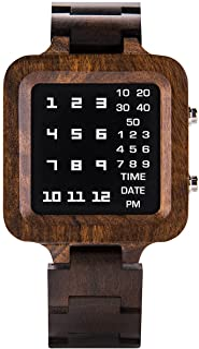 BOBO BIRD Digital Watch Mens Luxury Brand Design Night Vision Ebony Wooden Watch Unique Timepiece LED Display Watches