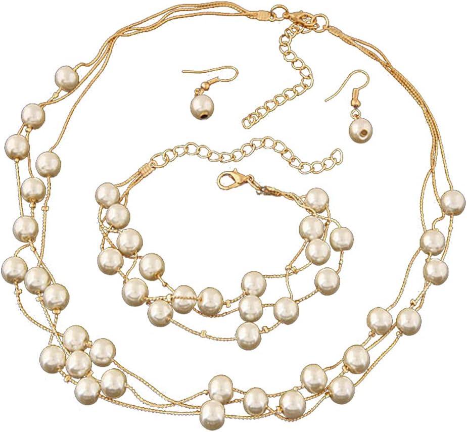 Grandiy Alloy Faux Pearl Necklace Earring Bracelet Costume Adjustable Jewelry Set,Golden