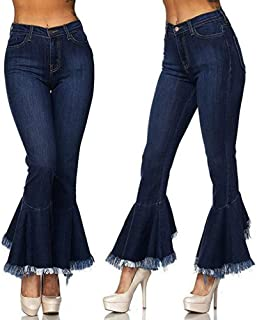 dec116b19e abcnature Trendy Jeans Women Hight Waisted Skinny Hole Denim Jeans Stretch  Slim Pants Bell-Bottoms