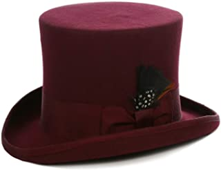 Satin Lined Wool Top Hat with Grosgrain Ribbon and Removable Feather - Unisex, Men, Women
