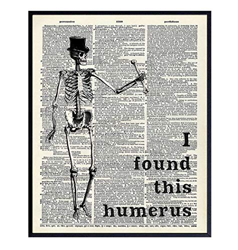 Funny Skeleton Dictionary Art Poster - 8x10 Upcycled Steampunk Home, Apartment or Wall Decoration,...