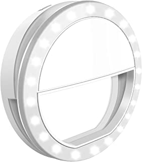 Criacr Selfie Ring Light, Clip-on Phone Selfie Light, Rechargeable 33 LED Fill Light, 3-Level Adjustable Brightness On-Camera Video Lights Night Light for All Smartphones