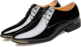 Solid Colours Unisex Red Black Brown Lace Up Glossy Patent Leather Flats Italy Dress Wedding Oxford Shoes Men and Women