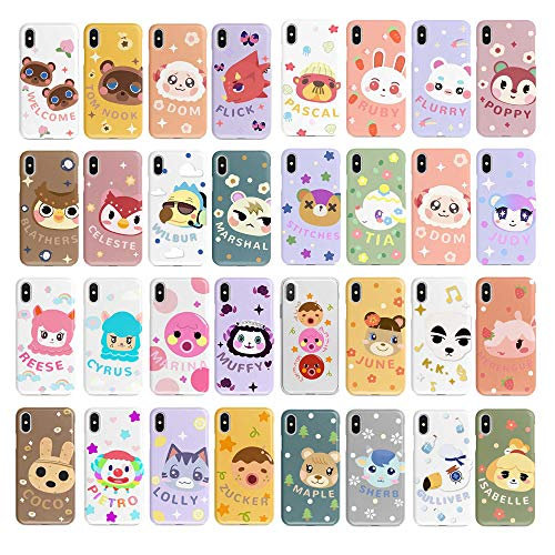 RegisBox Animal Crossing Phone Case 34 Villagers ACNH Phone Case for iPhone 12 Pro Max XR XS 8 7 6 5 Samsung Note 10 Galaxy S20 S10