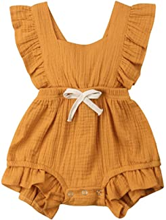425e1d1c917 C M Wodro Infant Baby Girl Bodysuit Sleeveless Ruffles Romper Sunsuit Outfit  Princess Clothes