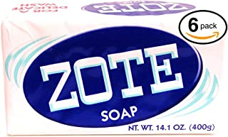 (PACK OF 6 BARS) Zote WHITE Laundry Bar Soap, with Even MORE Whitening Power & Satin Remover. Light Fresh Scent! Safe for delicate clothes! (6 Bars, 14.1oz Each Bar)