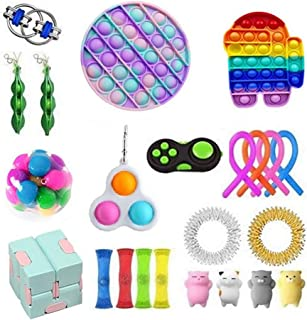 Sensory Fidget, Pousser Pop Bubble Sensory Fidget Toy Pression Pincez Jouets Anti-Stress pour Calmer Relaxer Adolescent En...