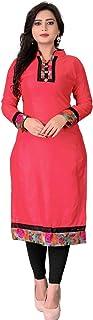 Dharmi Trendz Women's Cotton Semi-stitched Salwar Suit (1002Pink_Pink_Free Size)