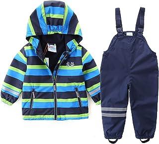 umkaumka - Conjunto de Traje de Lluvia para niños y niñas, Chaqueta Impermeable con Pantalones, Conjunto de Ropa de Lluvia...