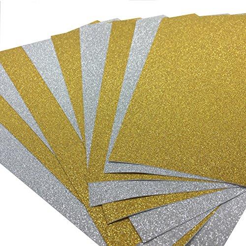 10 Blatt Klebefolie Glitzer Selbstklebende Dekofolie A4 Farbige Bastelfolie Glitter Vinyl Aufkleber für DIY Handwerk Scrapbooking Gold mit Silber