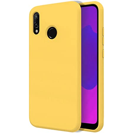 TBOC Coque pour Huawei Y6 (2019) - Étui Rigide [Jaune] Silicone Liquide Premium [Doux] Doublure Intérieure en Microfibre [Protège l'Appareil Photo] ...