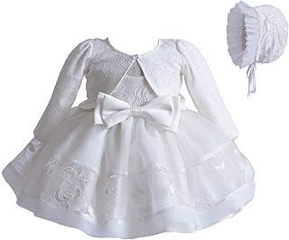 Carolilly Vestito Battesimo Bambina Neonata Abito in Pizzo Bianco 3 Pezzi Coprispalla Elegante+Abito Bianco+Cappello Cerim...
