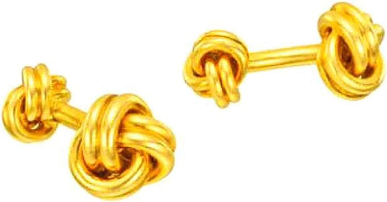 Elizabeth Jewelry Knot Cufflinks Brass 14Kt Yellow Gold Plated