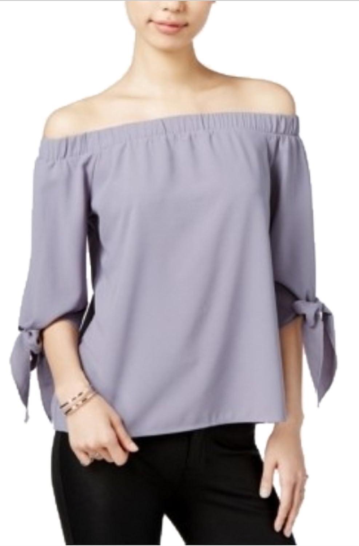 Bar III Shoulder Top, Purple, XLarge