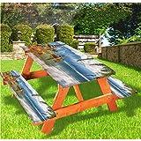 Mantel de mesa y banco balinés de picnic con borde elástico de Bali, 28 x 72 pulgadas, juego de 3 piezas para camping, comedor, exterior, parque, patio
