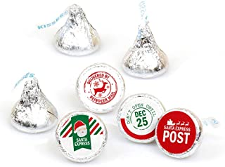 Big Dot of Happiness Santa's Special Delivery - from Santa Claus Christmas Round Candy Sticker Favors - Labels Fit Hershey's Kisses (1 Sheet of 108)