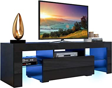 AUTSCA TV Stand for 55 inch TVs, Entertainment Center with LED Lights Blue Colored, Living Room Console Table with Storage Ca