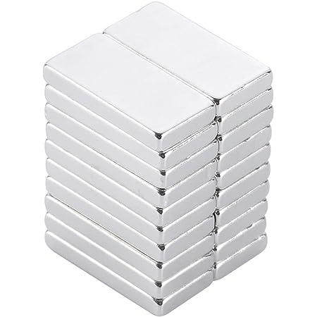 Yizhet 20PCS Super Fort Bloc Cuboïdes Aimant Puissant Terre Rare N35 Néodyme réfrigérateur, DIY, Cuisine, sous-Sol bâtiment - 20 x 10 x 2mm