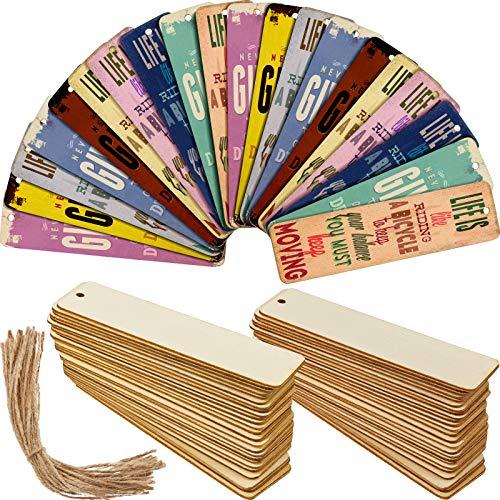 Holz Blanko Lesezeichen DIY Holz Handwerk Lesezeichen Unvollendete Holz Hängen Etiketten Rechteck Form Blanko Lesezeichen Ornamente mit Löchern und Seilen für Weihnachten DIY (36 Stücke)