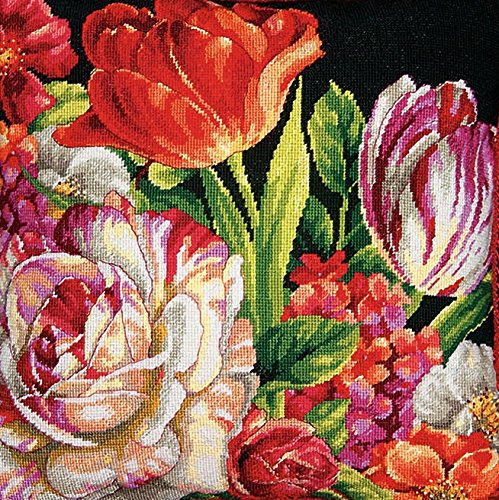 DIMENSIONS Needlepoint Kit, Bouquet on Black Floral Pattern, 14
