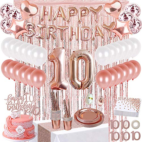 JSN PARTY 10th Birthday Decorations for Girls, 10 Years Gold Rose Gold Birthday Party Supplies, Happy Birthday Banner, Table Runner, Fringe Curtains, Cake Topper, Plates, Cups and More for 16 Guest