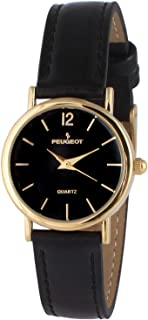 Peugeot Women's Classic 14K Plated Round Case Everyday Leather Band Dress Watch