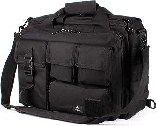 "GES Multifunction Mens Outdoor Tactical Nylon Shoulder Laptop Messenger Bag Briefcase Handbags Large Enough for 15.6"" Laptop/Camera (Black)"