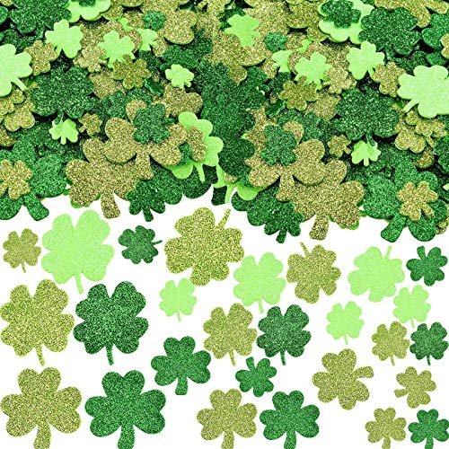 400 Pcs Glitter St. Patrick's Day Foam Stickers Shamrock and Four Leaf Clover Stickers Self-Adhesive Craft Stickers for Party DIY Craft Decoration