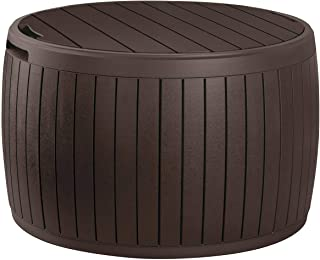 Keter Circa 37 Gallon Round Deck Box, Patio Table for Outdoor Cushion Storage, Brown
