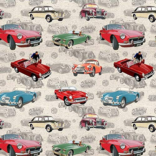 Michael Miller Fat Quarter MG Cars Allover 100% Baumwolle Quilting Patchwork Nähen Stoff