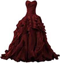 OWMAN Ruffles Ball Gown Quinceanera Dresses Princess Sweetheart Organza Pageant Prom Party Gown